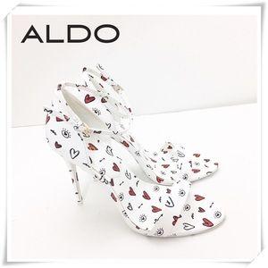 Aldo Brandii Milk Kiss lip Print Ankle Sandal Heel